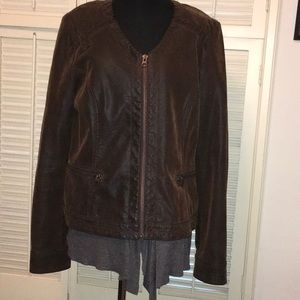 Anthropologie Hei Hei Faus Leather ZIP Jacket L